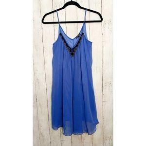 EXPRESS flowy midi blue dress, beaded v neck